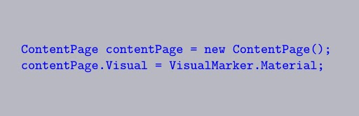 Apply Material Visual to pages Xamarin
